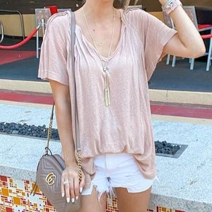 Free People Lovely Day Tee Dusty Rose Pink L NWT